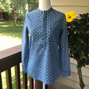 Madewell Long-Sleeve Blue and White Top